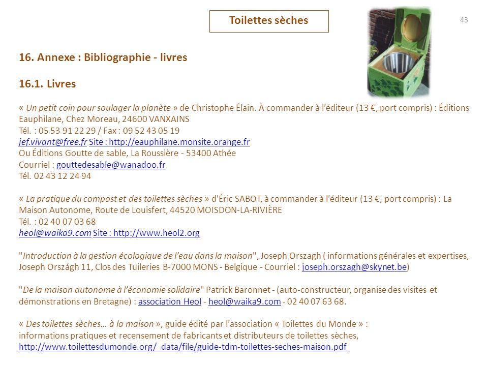 16. Annexe : Bibliographie - livres 16.1. Livres