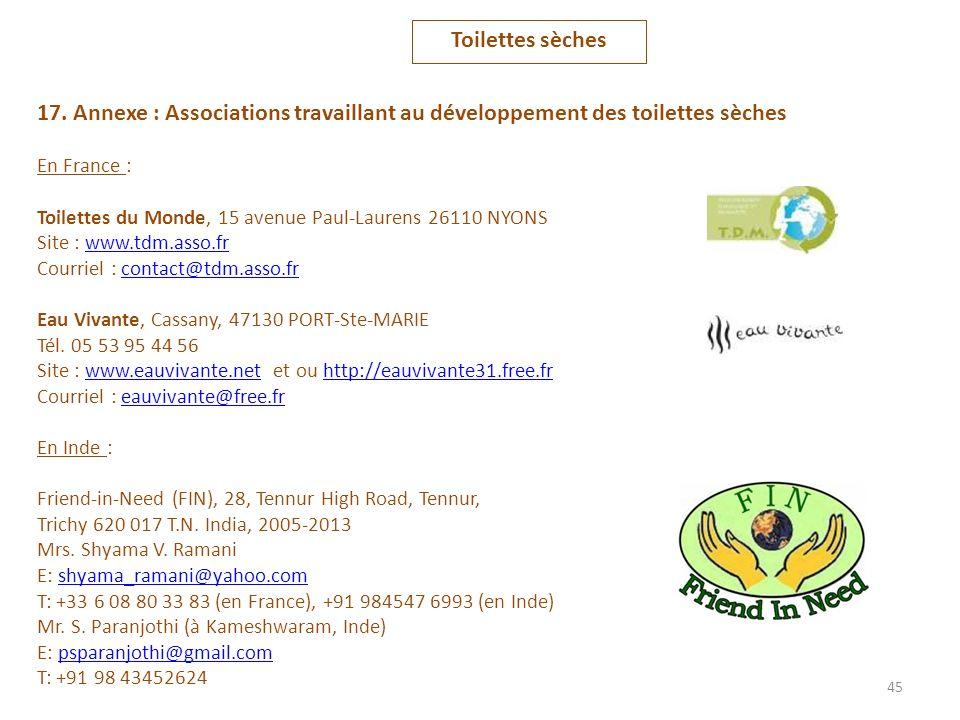 Toilettes sèches 17. Annexe : Associations travaillant au développement des toilettes sèches. En France :