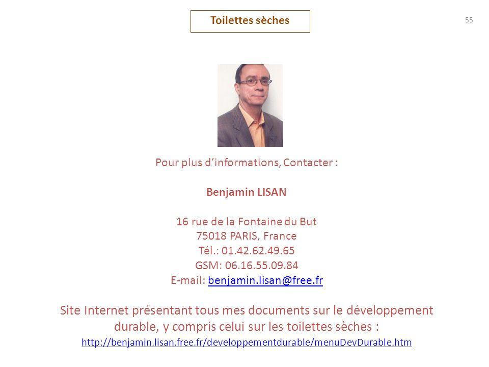 Toilettes sèches 55. Pour plus d'informations, Contacter : Benjamin LISAN. 16 rue de la Fontaine du But.
