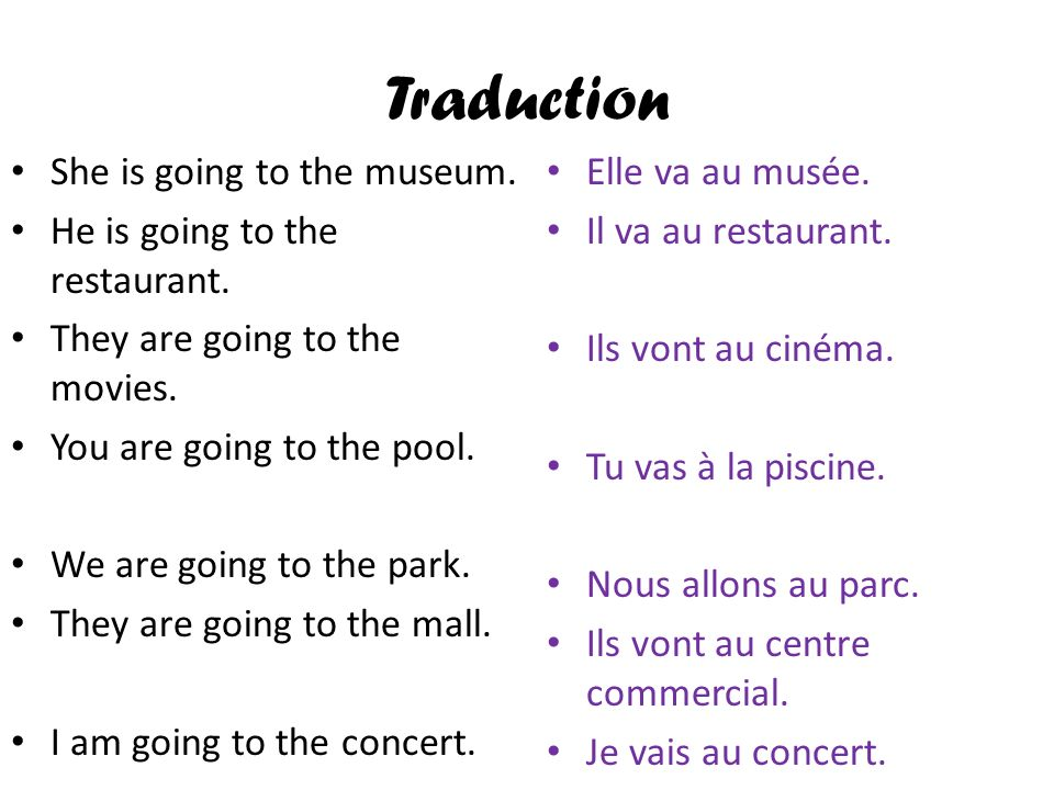 Traduction She is going to the museum. He is going to the restaurant.