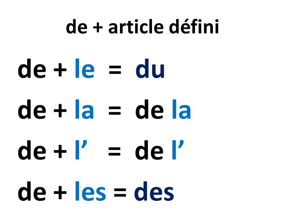 de + le = du de + la = de la de + l' = de l' de + les = des