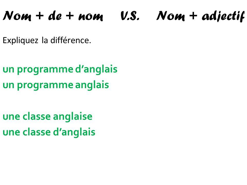 Nom + de + nom V.S. Nom + adjectif