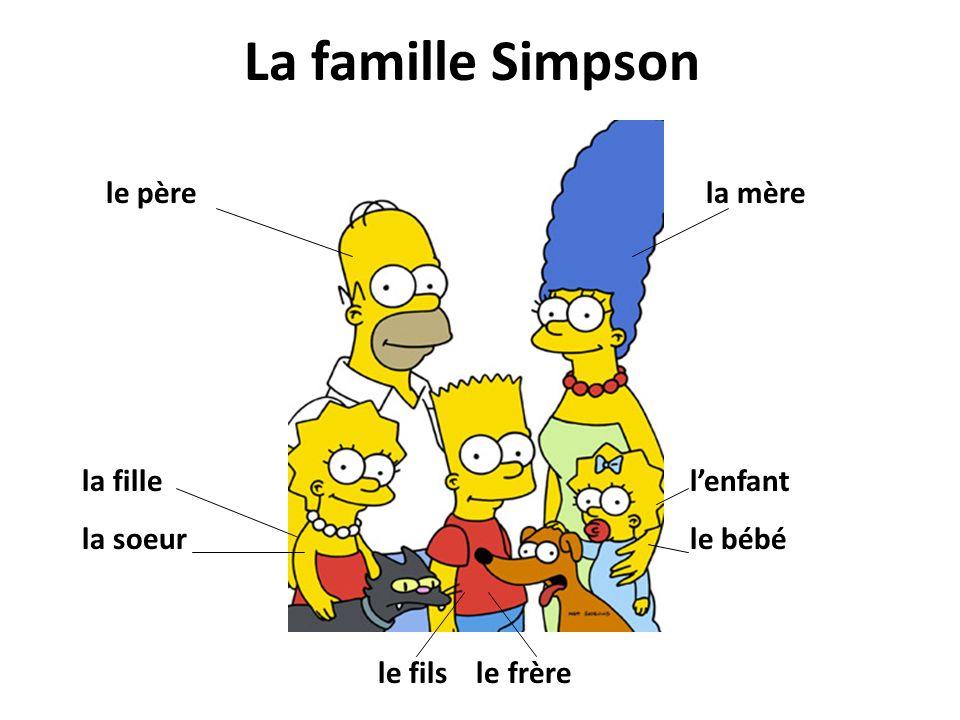La famille Simpson le père la mère la fille la soeur l'enfant le bébé