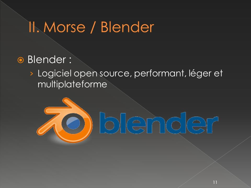 II. Morse / Blender Blender :