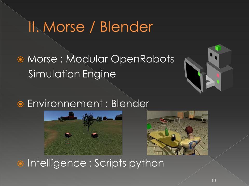 II. Morse / Blender Morse : Modular OpenRobots Simulation Engine