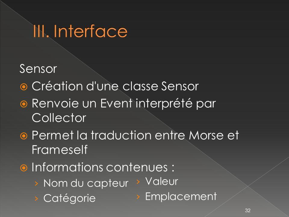 III. Interface Sensor Création d une classe Sensor