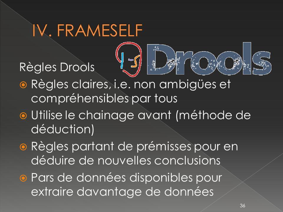 IV. FRAMESELF Règles Drools