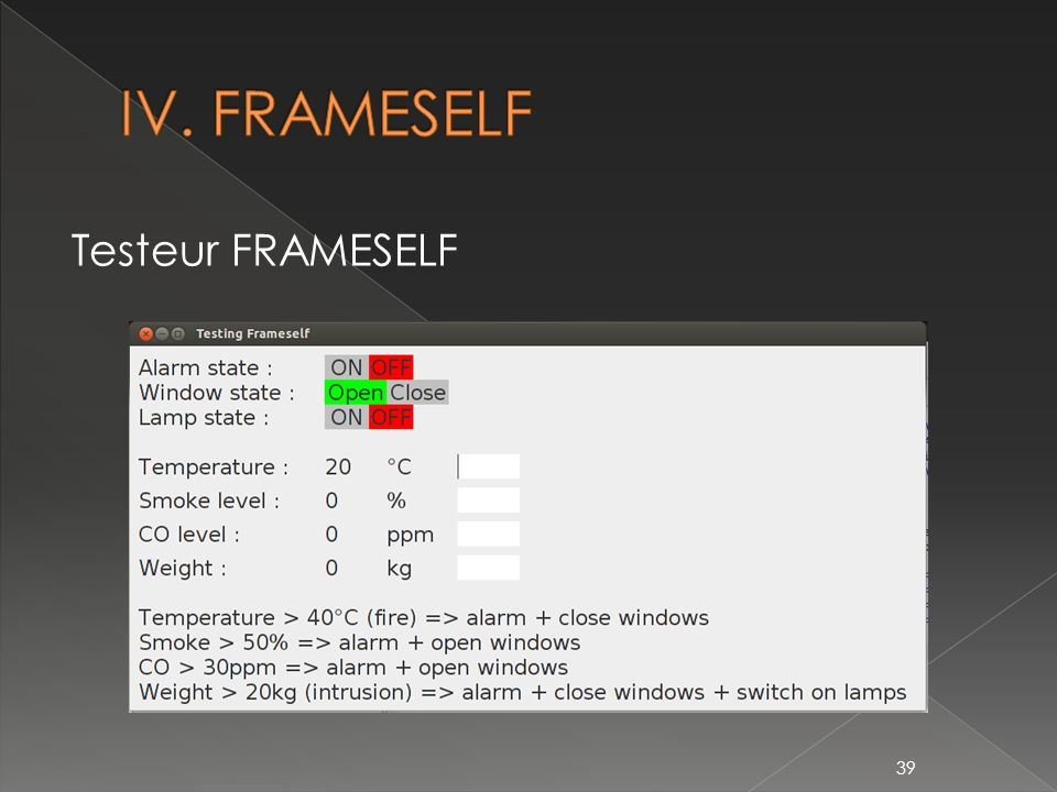 IV. FRAMESELF Testeur FRAMESELF