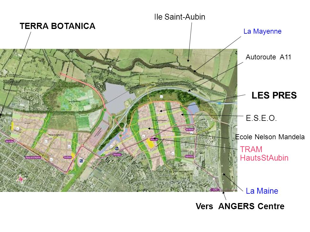 LES PRES TERRA BOTANICA Vers ANGERS Centre Ile Saint-Aubin E.S.E.O.
