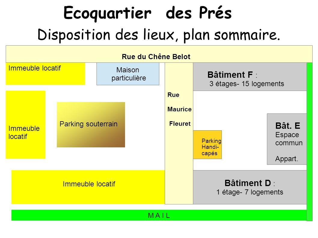 Ecoquartier des Prés Disposition des lieux, plan sommaire.