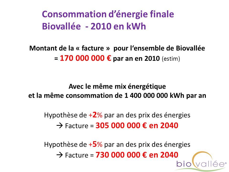 Consommation d'énergie finale Biovallée - 2010 en kWh