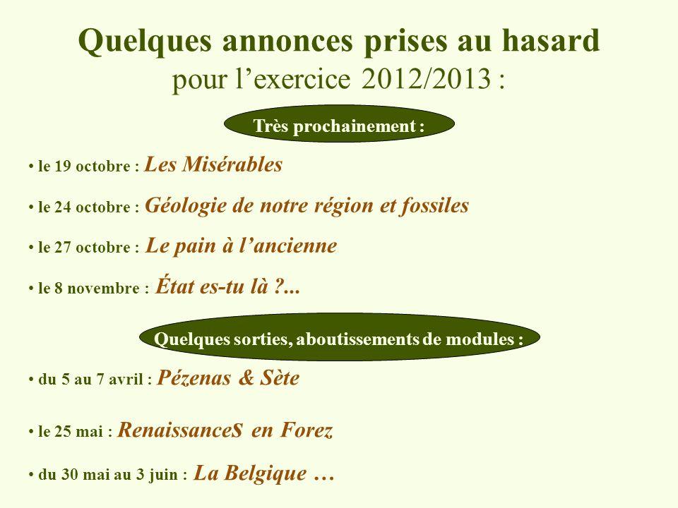 Quelques annonces prises au hasard pour l'exercice 2012/2013 :