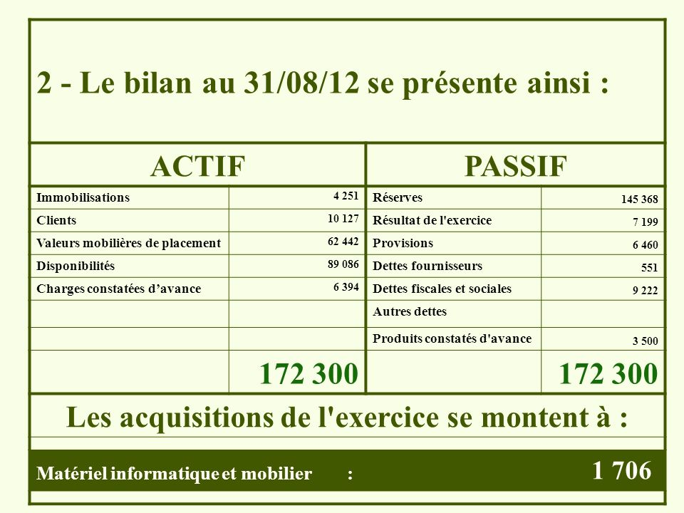 Les acquisitions de l exercice se montent à :