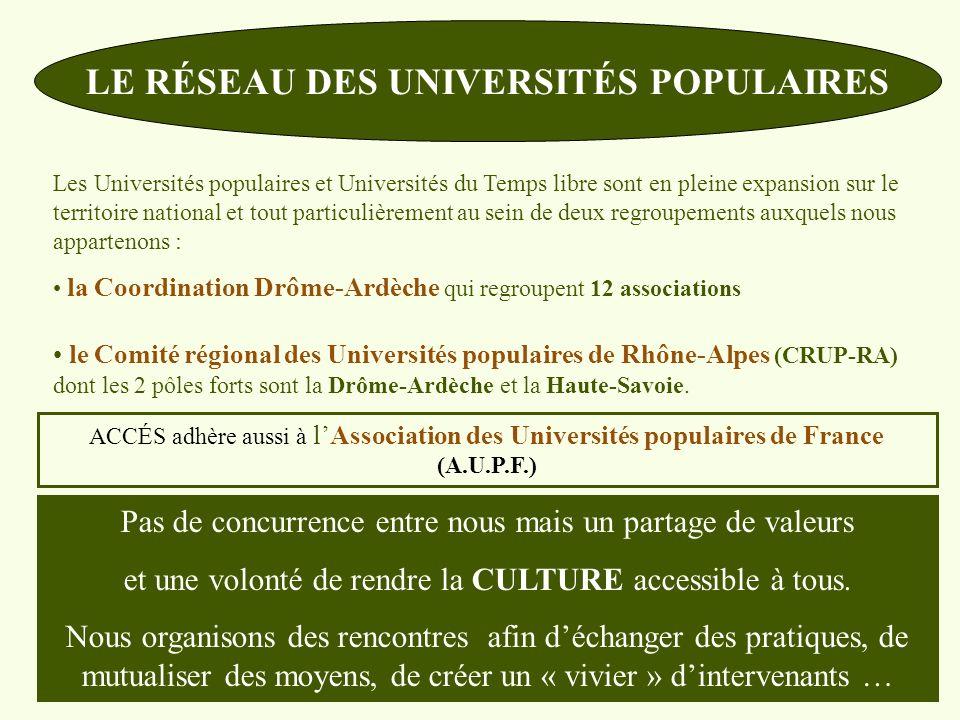 LE RÉSEAU DES UNIVERSITÉS POPULAIRES