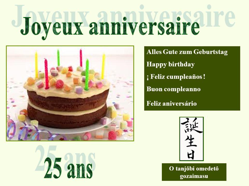 Joyeux anniversaire 25 ans Alles Gute zum Geburtstag Happy birthday