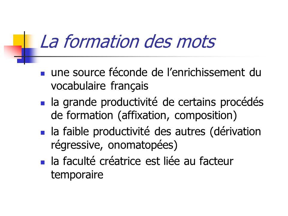 La formation des motsune source féconde de l'enrichissement du vocabulaire français.