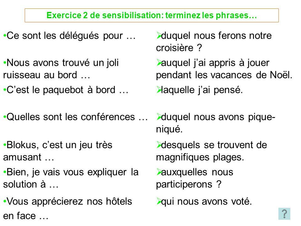 Exercice 2 de sensibilisation: terminez les phrases…