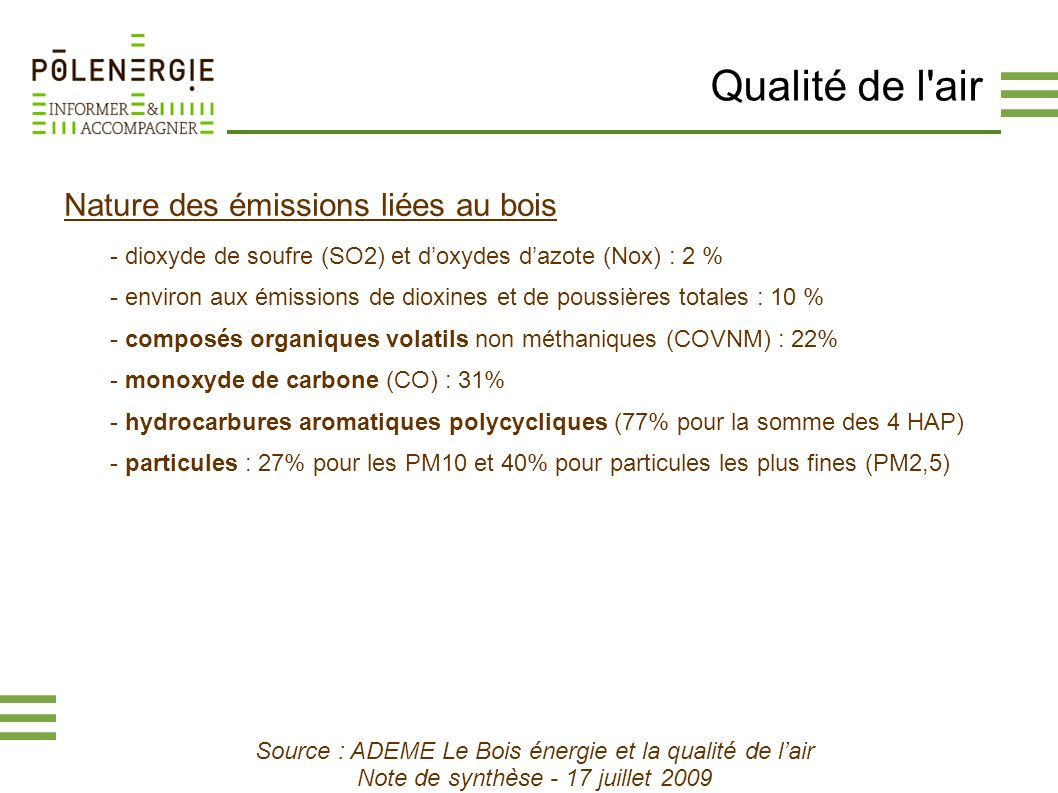 Qualité de l air Nature des émissions liées au bois