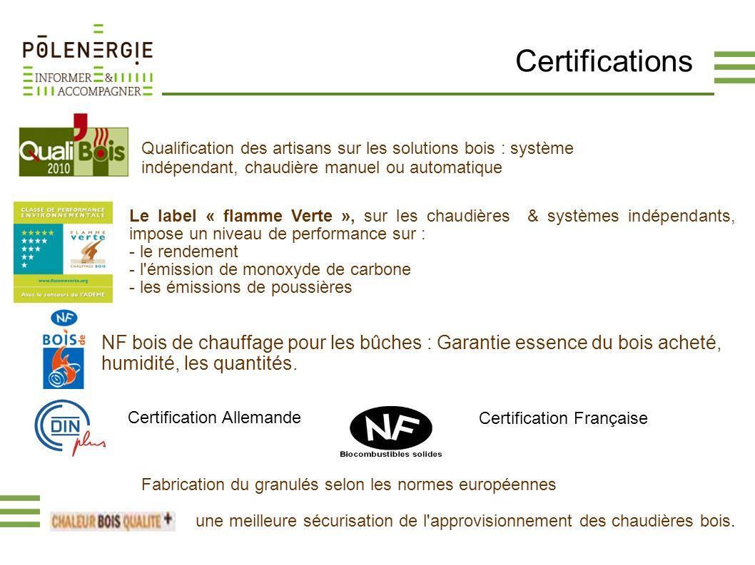 Certifications Qualification des artisans sur les solutions bois : système indépendant, chaudière manuel ou automatique.