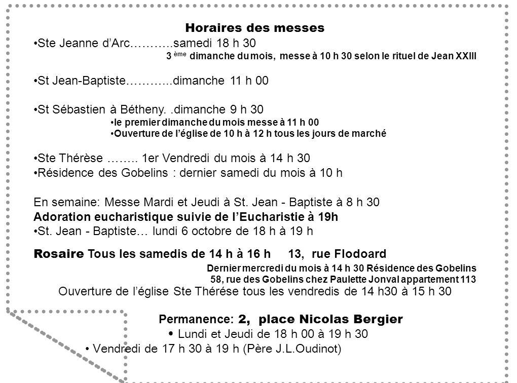 Permanence: 2, place Nicolas Bergier