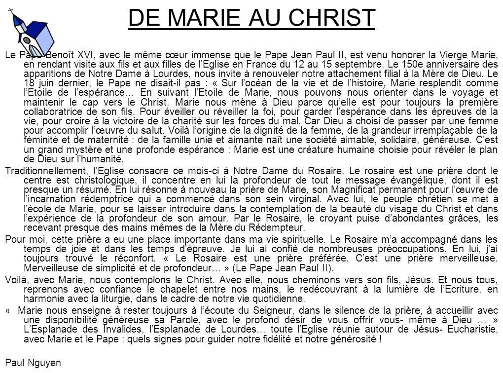 DE MARIE AU CHRIST