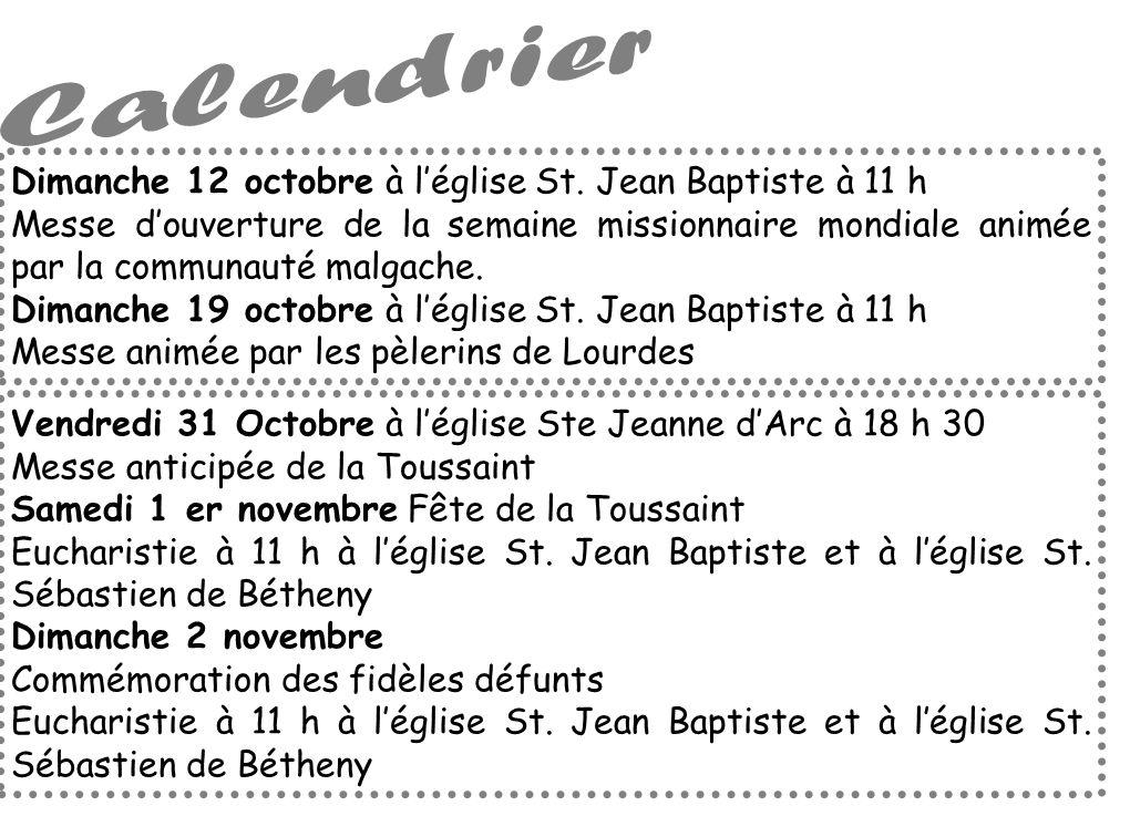 Calendrier Dimanche 12 octobre à l'église St. Jean Baptiste à 11 h
