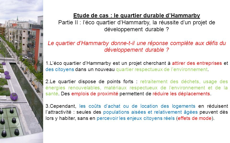 Etude de cas : le quartier durable d'Hammarby