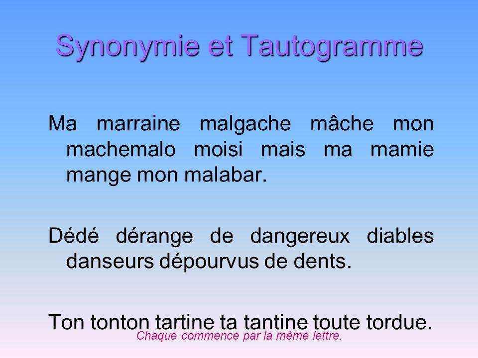 Synonymie et Tautogramme