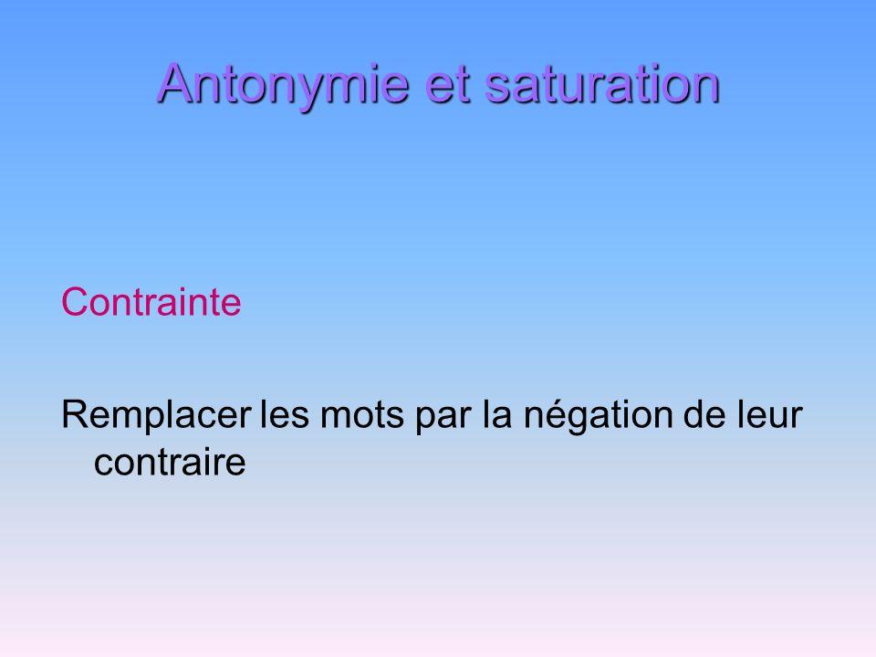 Antonymie et saturation