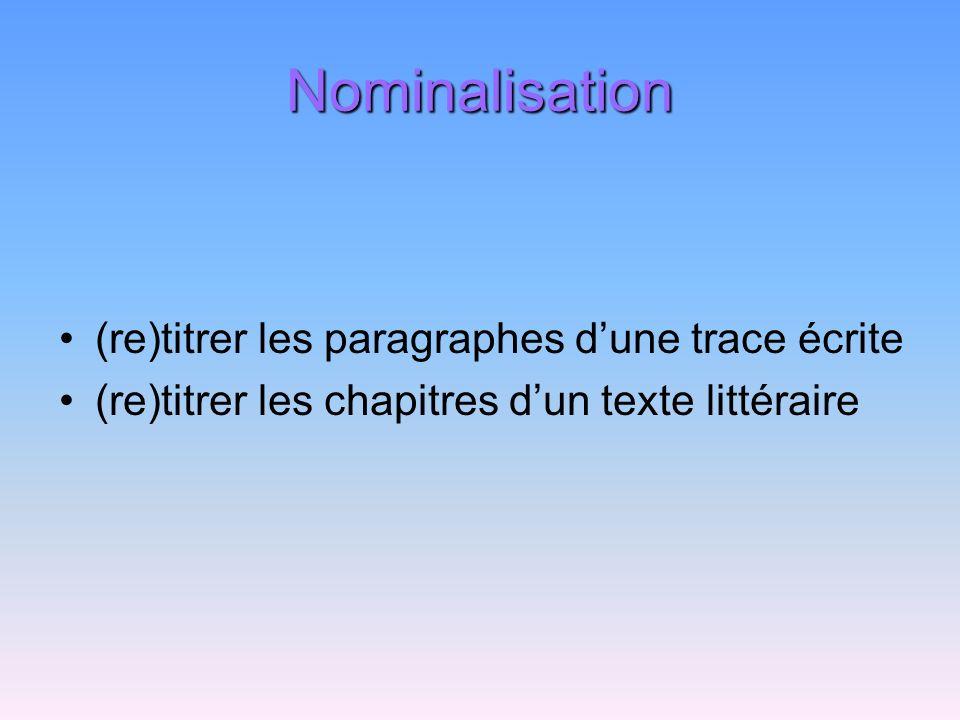 Nominalisation (re)titrer les paragraphes d'une trace écrite