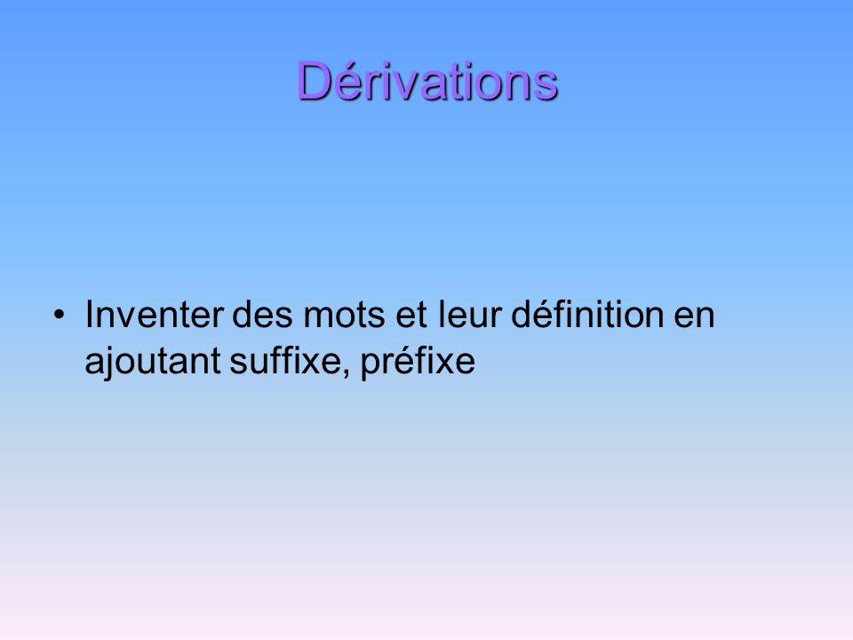 Dérivations Inventer des mots et leur définition en ajoutant suffixe, préfixe