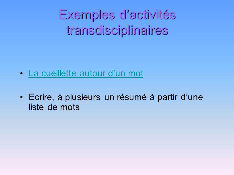 Exemples d'activités transdisciplinaires