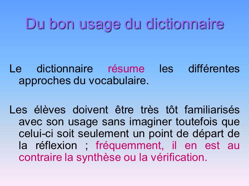 Du bon usage du dictionnaire