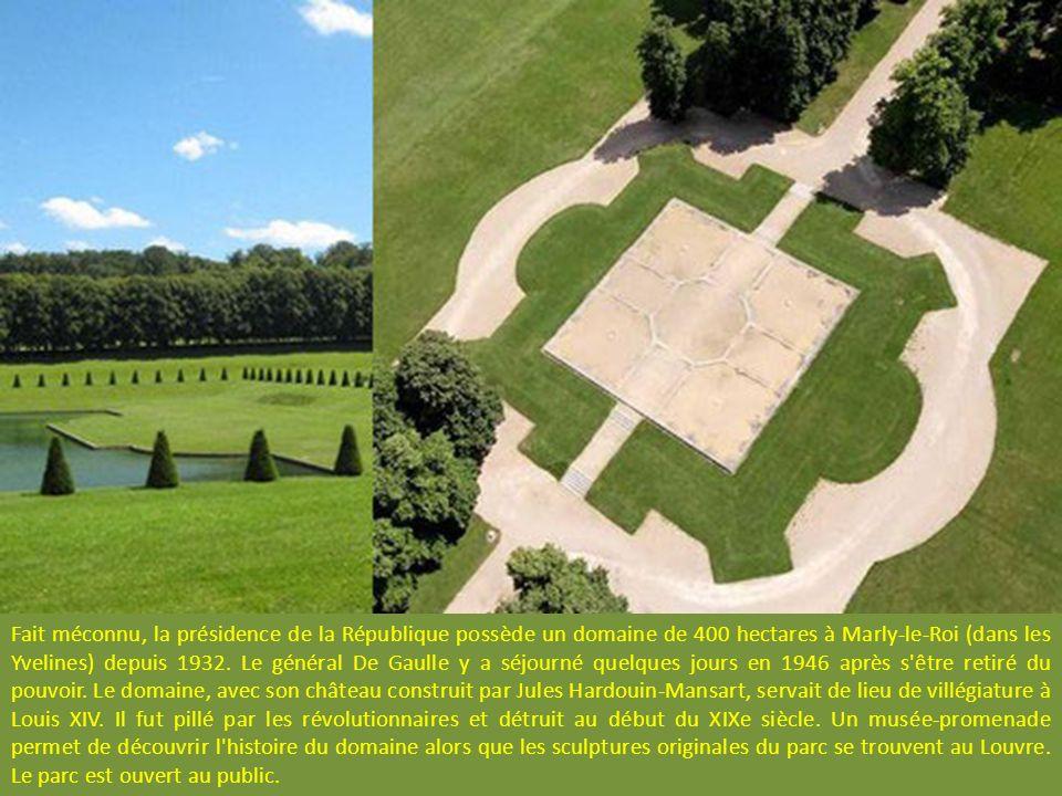 Fait méconnu, la présidence de la République possède un domaine de 400 hectares à Marly-le-Roi (dans les Yvelines) depuis 1932.