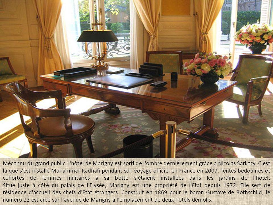 Méconnu du grand public, l hôtel de Marigny est sorti de l ombre dernièrement grâce à Nicolas Sarkozy.