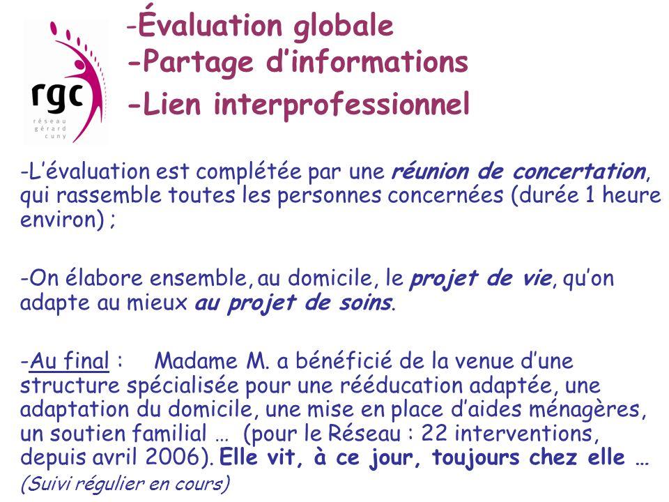 Évaluation globale -Partage d'informations -Lien interprofessionnel