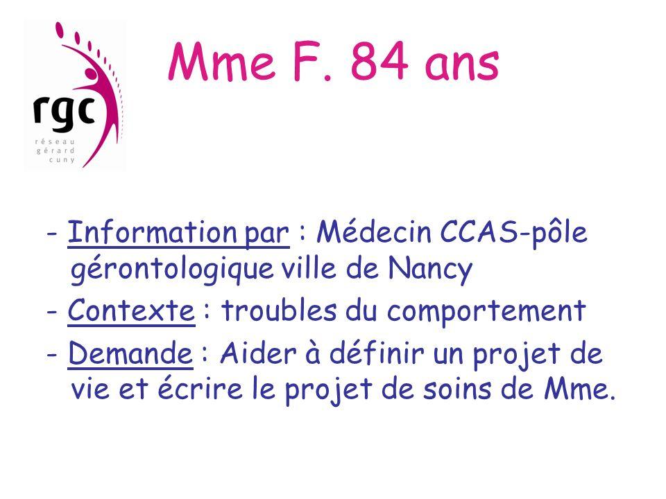 Mme F. 84 ans - Information par : Médecin CCAS-pôle gérontologique ville de Nancy. - Contexte : troubles du comportement.