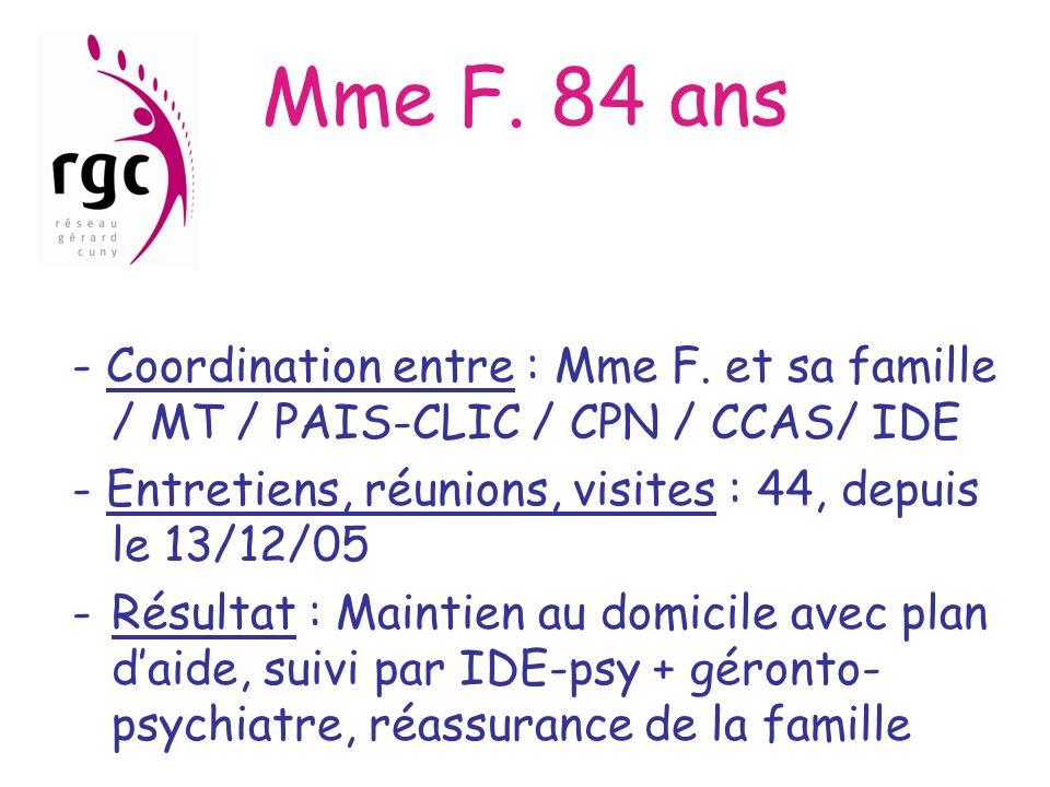 Mme F. 84 ans - Coordination entre : Mme F. et sa famille / MT / PAIS-CLIC / CPN / CCAS/ IDE.