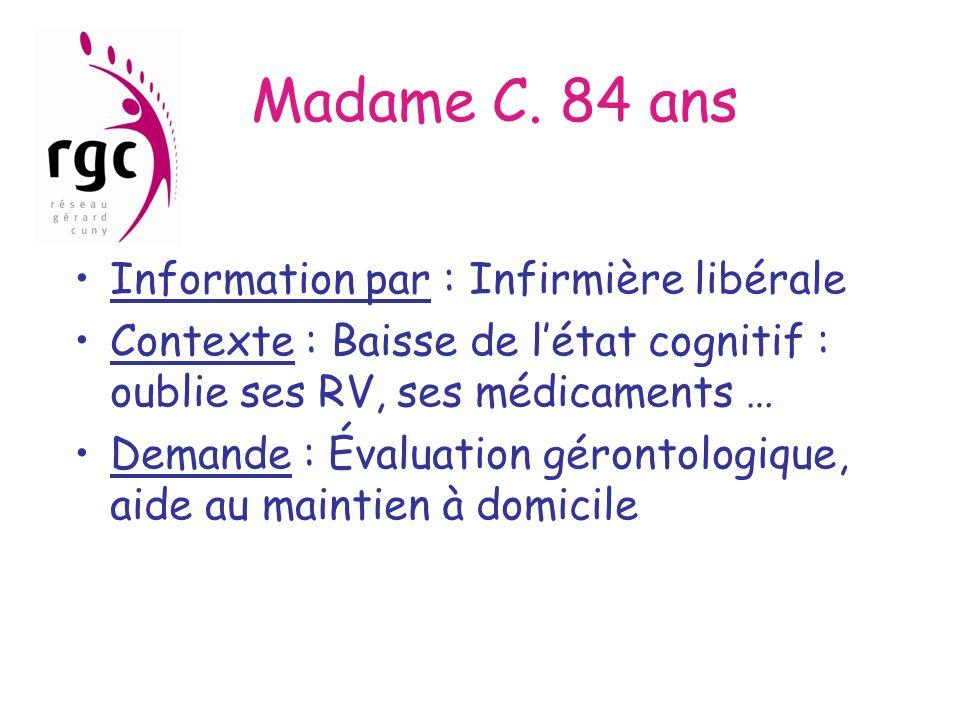 Madame C. 84 ans Information par : Infirmière libérale