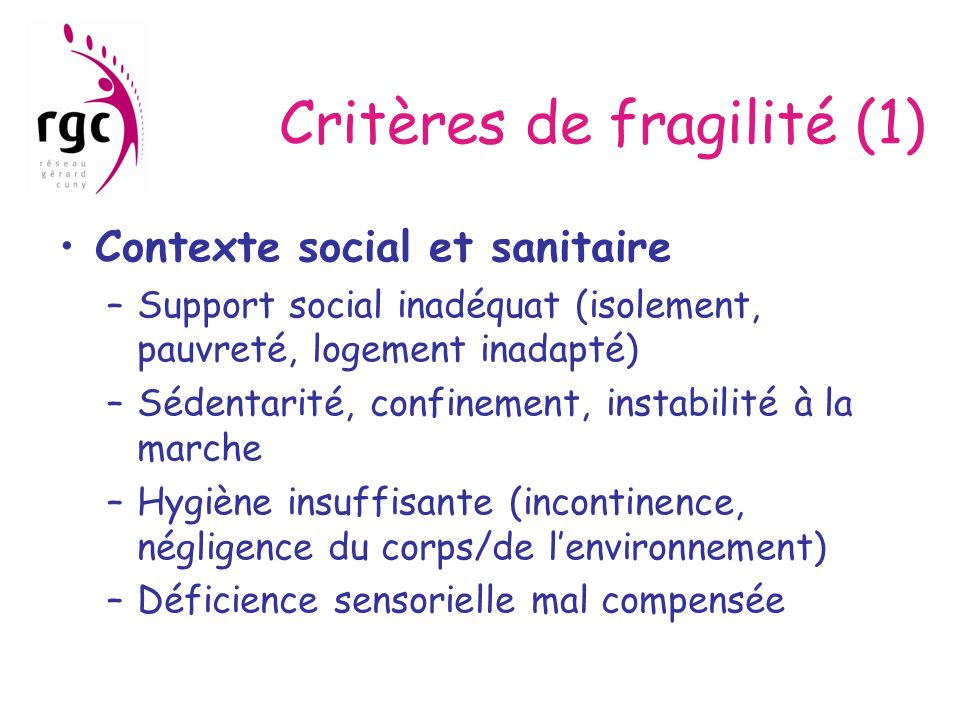 Critères de fragilité (1)