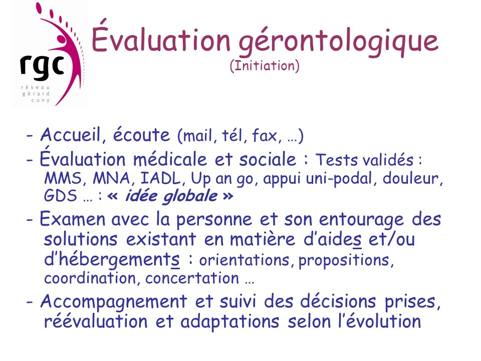 Évaluation gérontologique (Initiation)