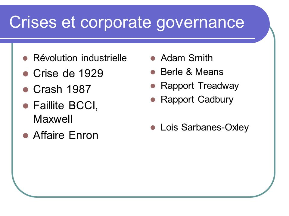 Crises et corporate governance