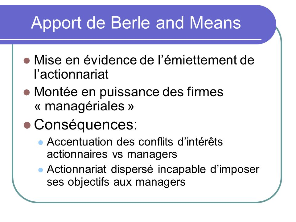 Apport de Berle and Means