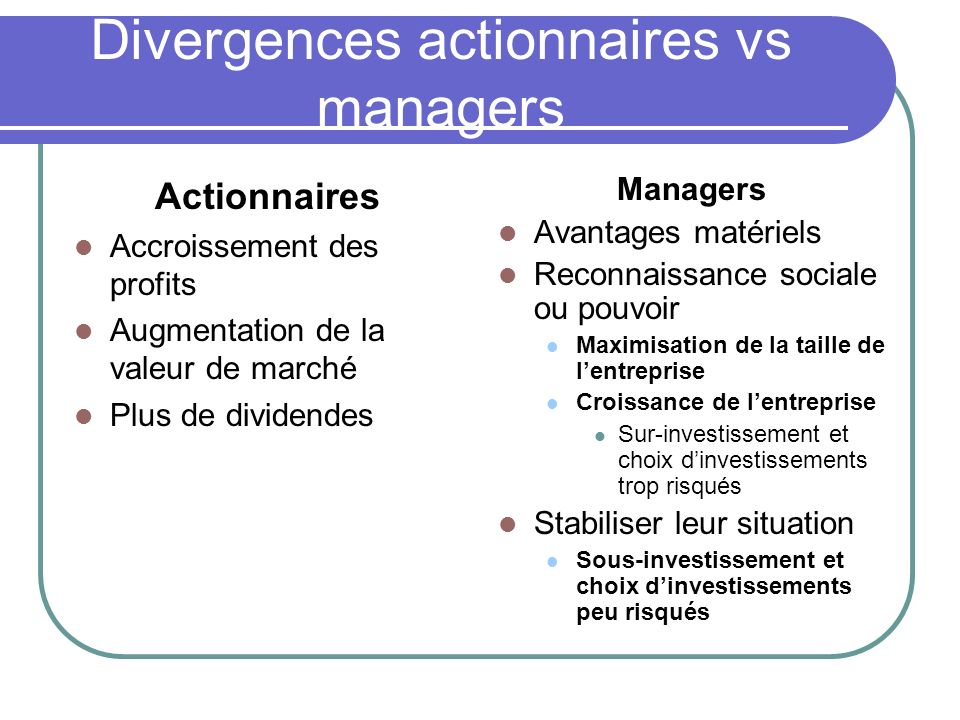 Divergences actionnaires vs managers