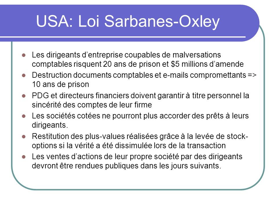 USA: Loi Sarbanes-Oxley