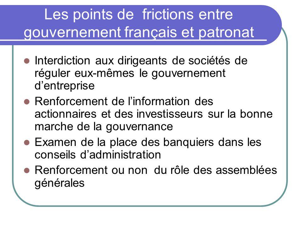 Les points de frictions entre gouvernement français et patronat
