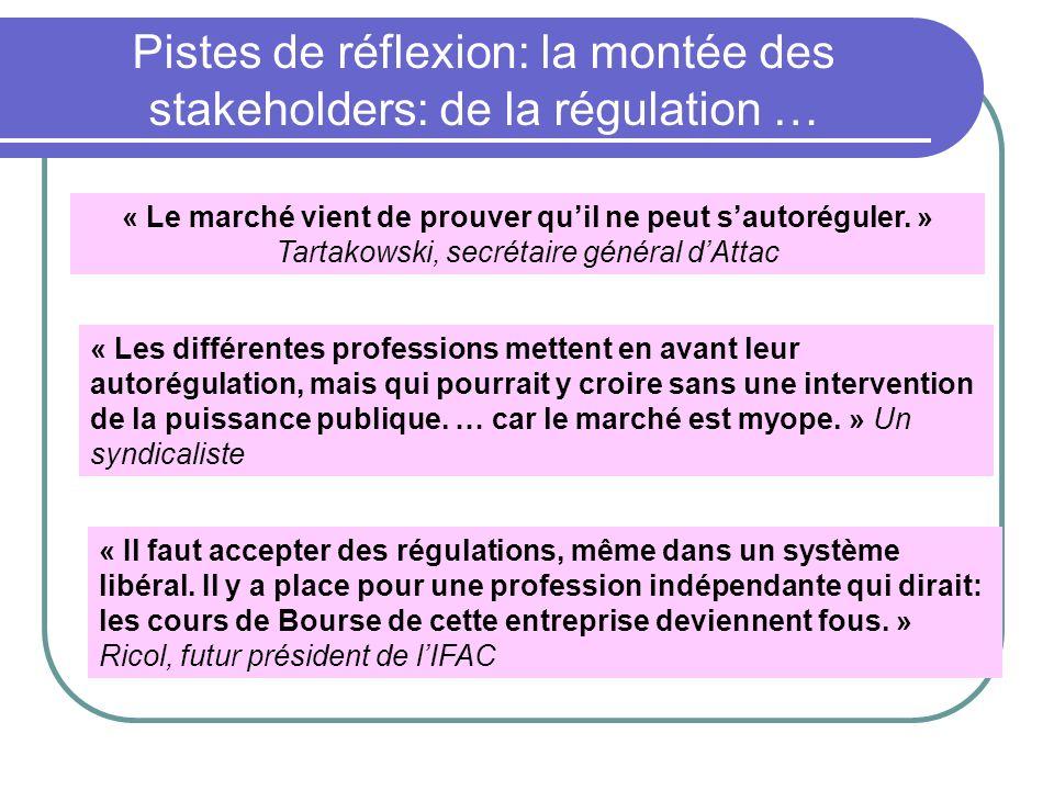 Pistes de réflexion: la montée des stakeholders: de la régulation …