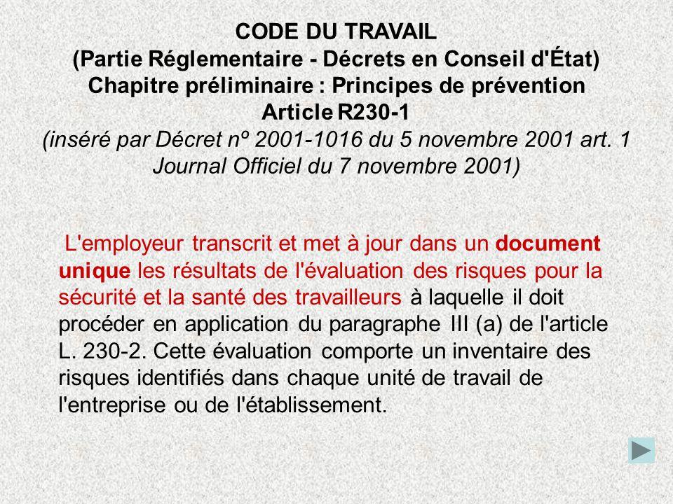 CODE DU TRAVAIL (Partie Réglementaire - Décrets en Conseil d État)