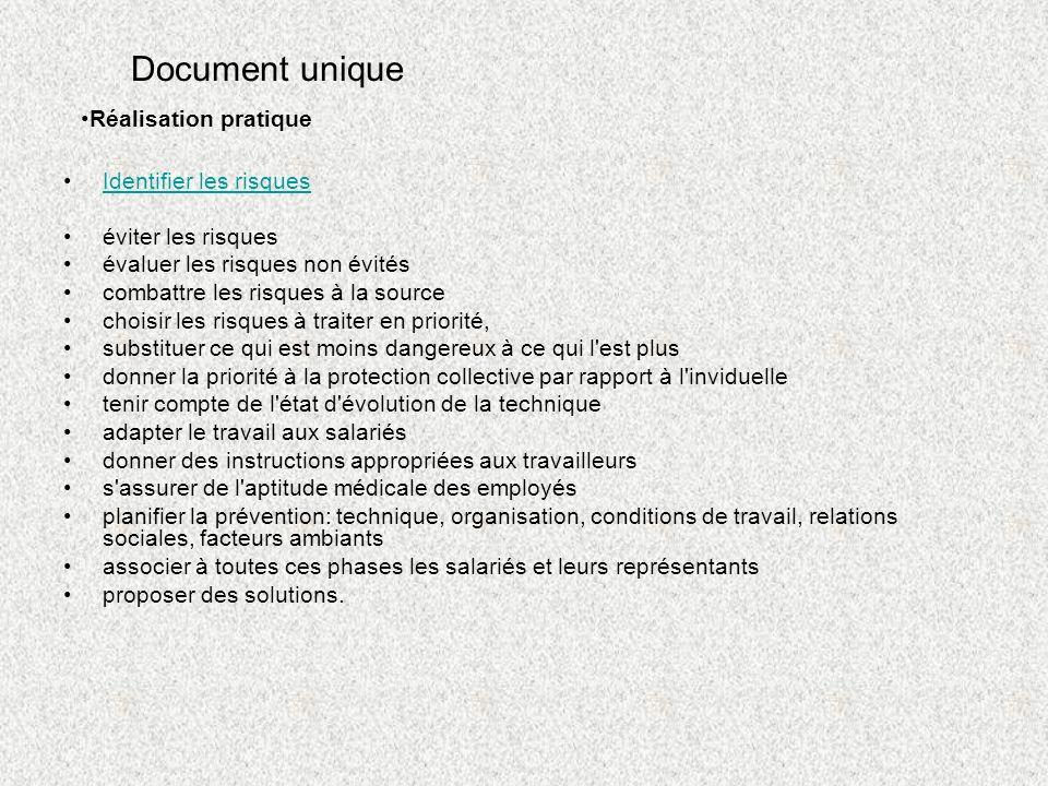 Document unique Réalisation pratique Identifier les risques