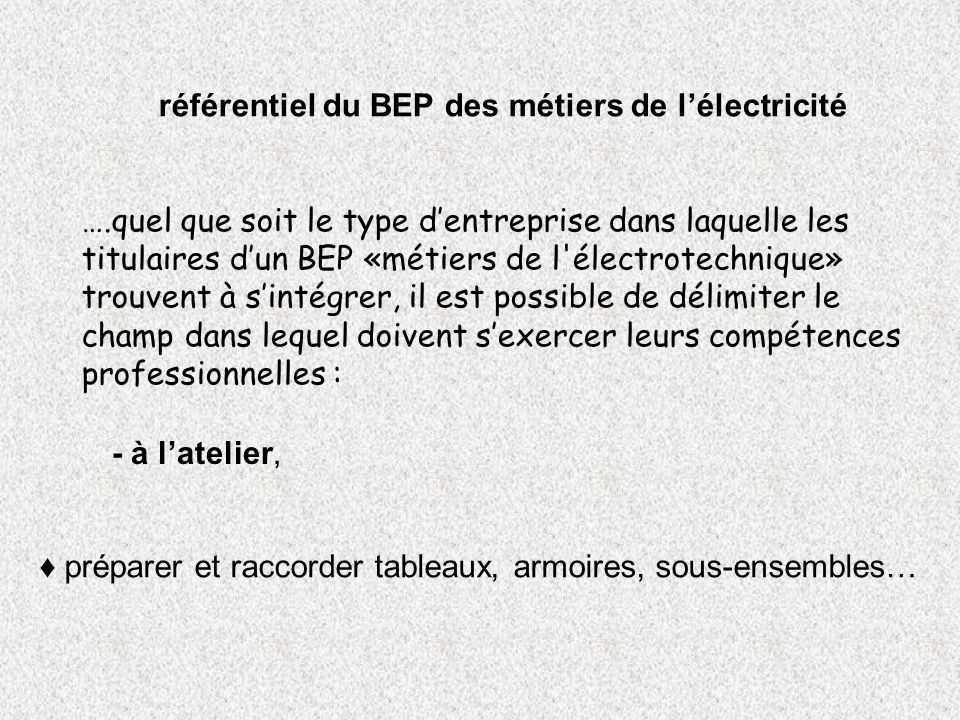 référentiel du BEP des métiers de l'électricité